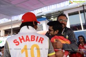 CCL 3 Telugu Warriors Team at LB Staidum, Hyderabad