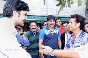 CCL 3 Telugu Warriors Team with Sachin Tendulkar