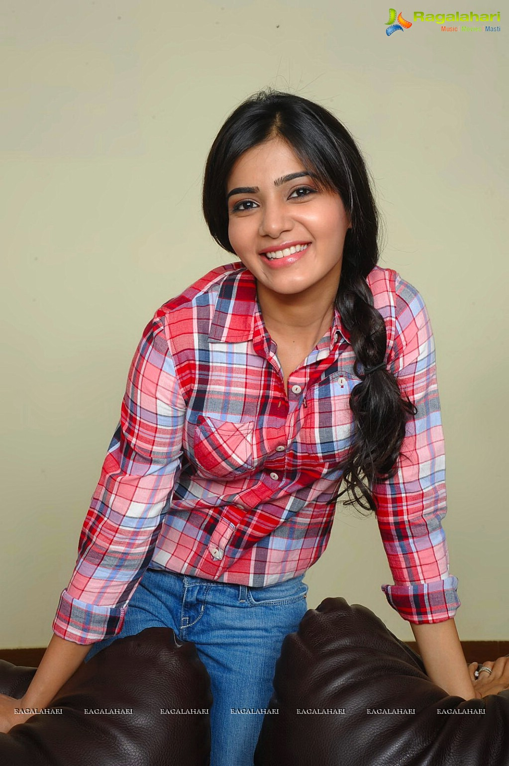Samantha in Checkered Shirt Photoshoot