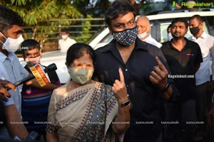 GHMC Polls 2020 Megastar Chiranjeevi, Celeb Cast Votes